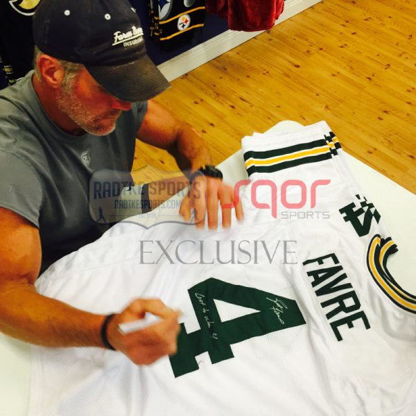 """Brett Favre Autographed/Signed Green Bay Packers Custom NFL Away Jersey with """"4 Retired 7/18/15"""" Inscription - LE of 44-608"""