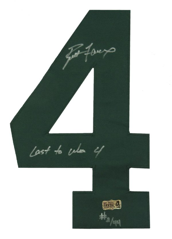 """Brett Favre Autographed/Signed Green Bay Packers Custom Away NFL Jersey with """"Last to Wear 4"""" Inscription - LE of 44-610"""