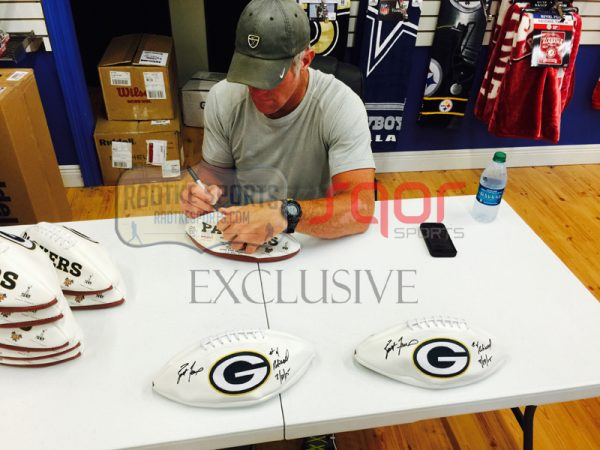 """Brett Favre Autographed/Signed Green Bay Packers Embroidered NFL Logo Football with """"4 Retired 7/18/15"""" Inscription - LE of 44-634"""