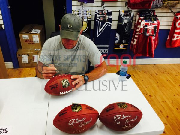 """Brett Favre Autographed/Signed Green Bay Packers Wilson Authentic Duke NFL Football with """"4 Retired 7/18/15"""" Inscription - LE of 44-641"""
