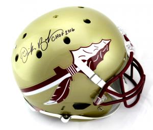 "Derek Brooks Signed Florida State Seminoles Schutt Full Size Helmet with ""CHOF 2016"" Inscription - JSA-0"