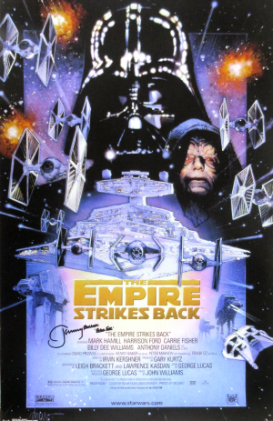 Jeremy Bulloch Signed Star Wars The Empire Strikes Back 24x36 Movie Poster-0