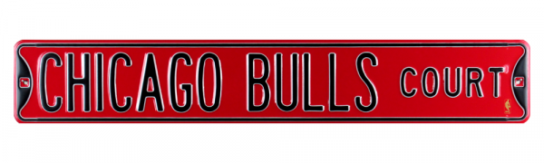 Chicago Bulls Court Officially Licensed Authentic Steel 36x6 Black & Red NFL Street Sign-9043