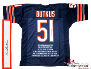 Dick Butkus Signed Chicago Bears Navy Blue Throwback Custom Stat Jersey - JSA-0