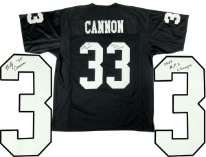 "Billy Cannon Signed Oakland Raiders Black Custom Jersey with ""1967 AFL Champs"" Inscription-0"