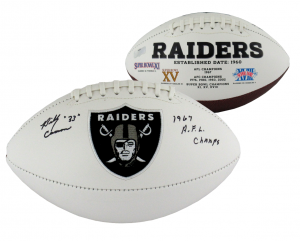 "Billy Cannon Signed Oakland Raiders Embroidered NFL Logo Football with ""1967 AFL Champs"" Inscription-0"