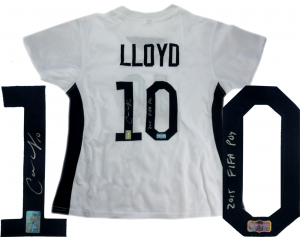 "Carli Lloyd Signed US Women's Soccer White Custom Jersey with ""2015 FIFA POY"" Inscription-0"