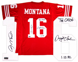"Joe Montana & Dwight Clark Signed San Francisco 49ers Custom Jersey with ""The Catch - 1.10.82"" Inscription-0"