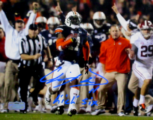 "Chris Davis Jr Signed Auburn Tigers Color 8x10 Photo with ""Kick Six"" Inscription - Bright Blue Ink-0"