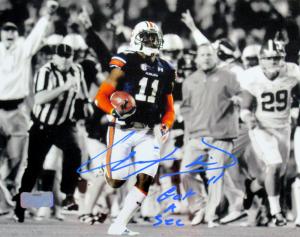 "Chris Davis Jr Signed Auburn Tigers Spotlight 8x10 Photo with ""Got a Sec"" Inscription - Bright Blue Ink-0"
