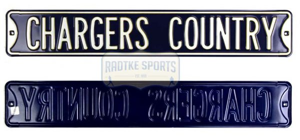 "San Diego Chargers ""Chargers Country"" Officially Licensed Authentic Steel 36x6 Blue & White NFL Street Sign-0"