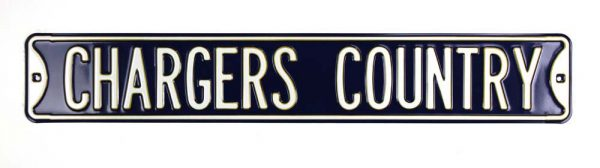 "San Diego Chargers ""Chargers Country"" Officially Licensed Authentic Steel 36x6 Blue & White NFL Street Sign-19877"