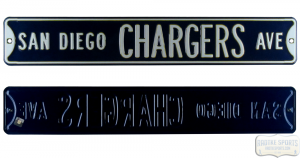 San Diego Chargers Avenue Officially Licensed Authentic Steel 36x6 Blue & White NFL Street Sign-0