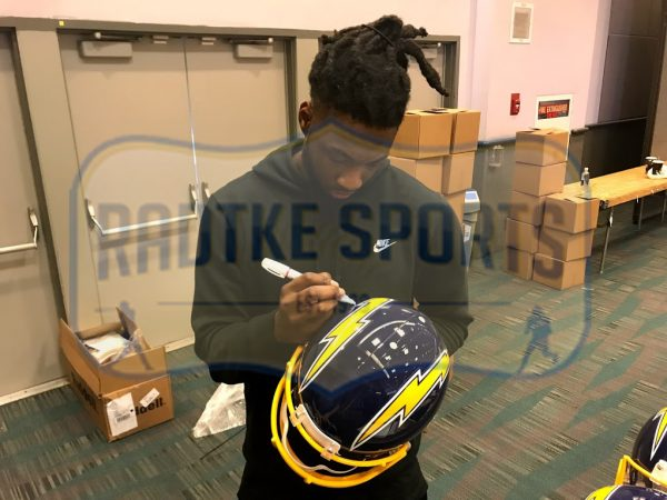 """Mike Williams Signed Los Angeles Chargers Riddell Throwback Full Size Authentic Blue Helmet With """"2017 1st Round Pick"""" Inscription-32516"""