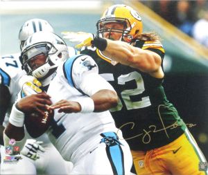 Clay Matthews Signed 20x24 Green Bay Packers Gallery Wrapped NFL Wall Mount Canvas - Tackling Cam Newton-0