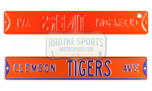 Clemson Tigers Avenue Officially Licensed Authentic Steel 36x6 Purple & Orange NCAA Street Sign-0