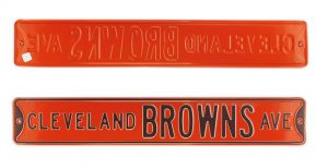Cleveland Browns Avenue Officially Licensed Authentic Steel 36x6 Brown & Orange NFL Street Sign-0