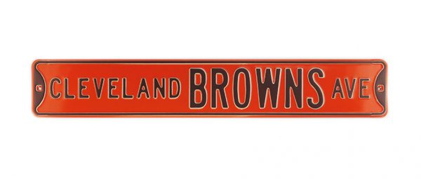 Cleveland Browns Avenue Officially Licensed Authentic Steel 36x6 Brown & Orange NFL Street Sign-17057