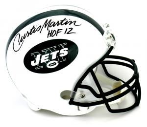 "Curtis Martin Signed New York Jets Riddell Full Size Helmet with ""HOF 12"" Inscription-0"