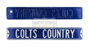 "Indianapolis Colts ""Colts Country"" Officially Licensed Authentic Steel 36x6 Blue & White NFL Street Sign-0"