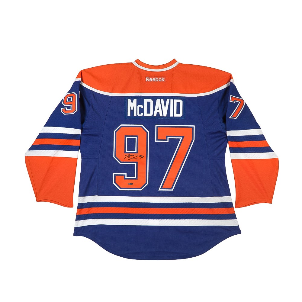 size 40 91b18 c1de4 Connor McDavid Signed Edmonton Oilers Authentic Reebok Blue Jersey