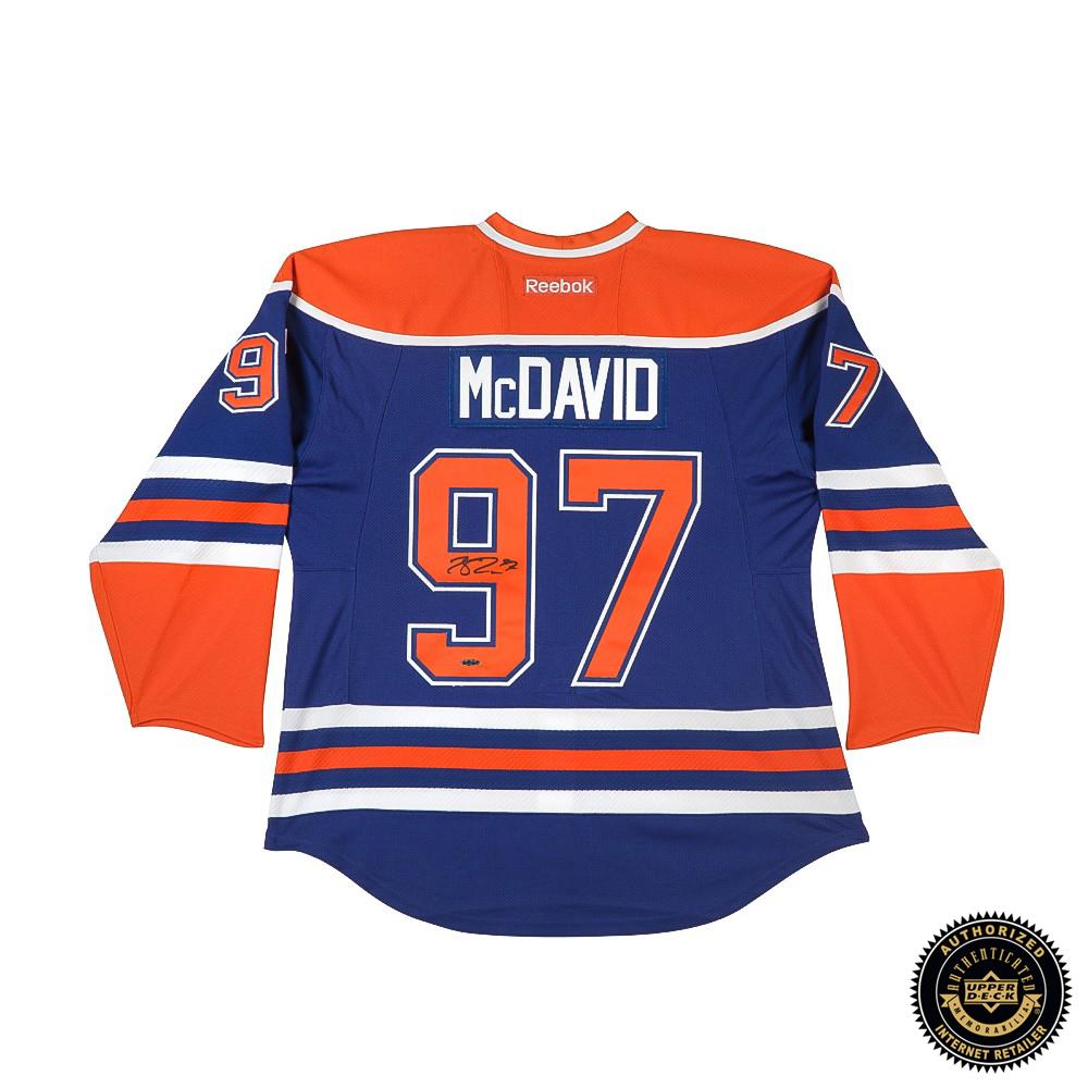 size 40 f773a 8d7aa Connor McDavid Signed Edmonton Oilers Authentic Reebok Blue Jersey