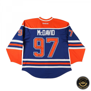 "Connor McDavid Signed Edmonton Oilers Authentic Reebok Blue Jersey with ""#1 Pick 2015"" Inscription-0"