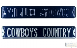 "Dallas Cowboys ""Cowboy Country"" Officially Licensed Authentic Steel 36x6 Navy & Silver NFL Street Sign-0"