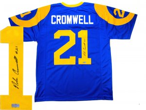 Nolan Cromwell Signed Los Angeles Rams Custom Blue Jersey-0