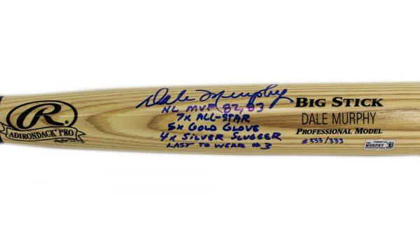 Dale Murphy Signed Atlanta Braves Rawlings Engraved Big Stick Blonde MLB Bat With 5 Career Stats Inscription - LE #333 Of 333-17462