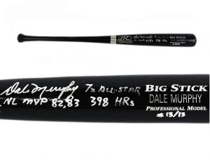 Dale Murphy Signed Atlanta Braves Rawlings Engraved Big Stick Black MLB Bat With Career Stats Inscription - Limited Edition #13 Of 13-0