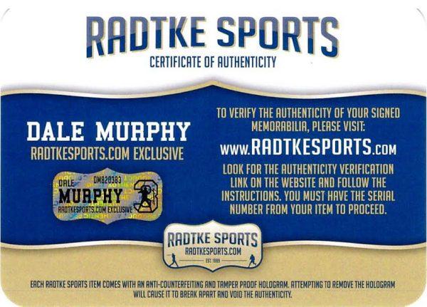 Dale Murphy Signed Atlanta Braves Rawlings Engraved Big Stick Blonde MLB Bat With 5 Career Stats Inscription - LE #333 Of 333-17461