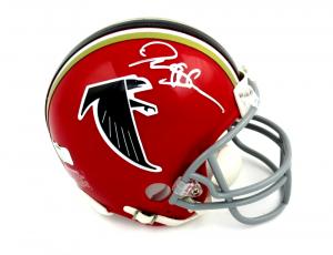 Deion Sanders Signed Atlanta Falcons Riddell Red Throwback NFL Mini Helmet - Silver Ink-0