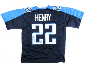 Derrick Henry Signed Tennessee Titans Custom Blue Jersey-0