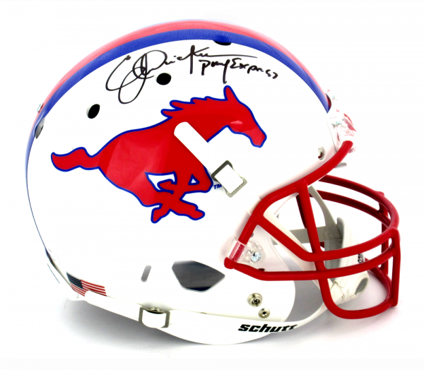 """Eric Dickerson Autographed/Signed Southern Methodist University Mustangs Schutt Full Size NCAA Helmet with """"Pony Express"""" Inscription-0"""