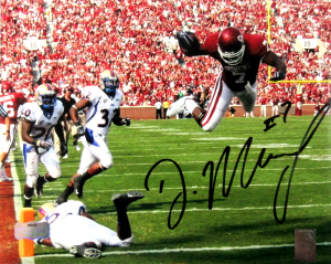 "DeMarco Murray Signed Oklahoma Sooners Iconic 8x10 NCAA Photo ""Diving""-0"
