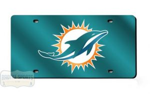 Miami Dolphins Officially Licensed NFL Laser Tag Mirror License Plate - Teal-0
