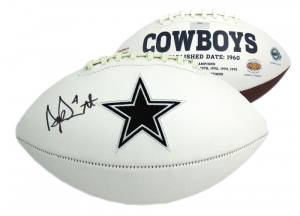 Dak Prescott Signed Dallas Cowboys Embroidered Logo Football-0