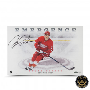 "Dylan Larkin Signed ""Emergence"" 11x17 Photo-0"