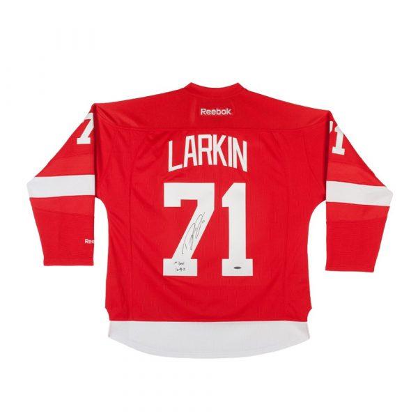 """Dylan Larkin Signed Detroit Red Wings Reebok Premier Jersey with """"1st Goal"""" Inscription-13868"""