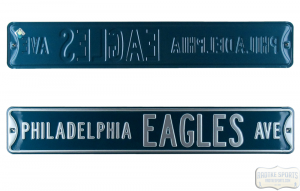 Philadelphia Eagles Avenue Officially Licensed Authentic Steel 36x6 Green & Silver NFL Street Sign-0
