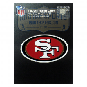 Officially Licensed San Francisco 49ers Logo 3x4 NFL Car Emblem with Adhesive Backing-0