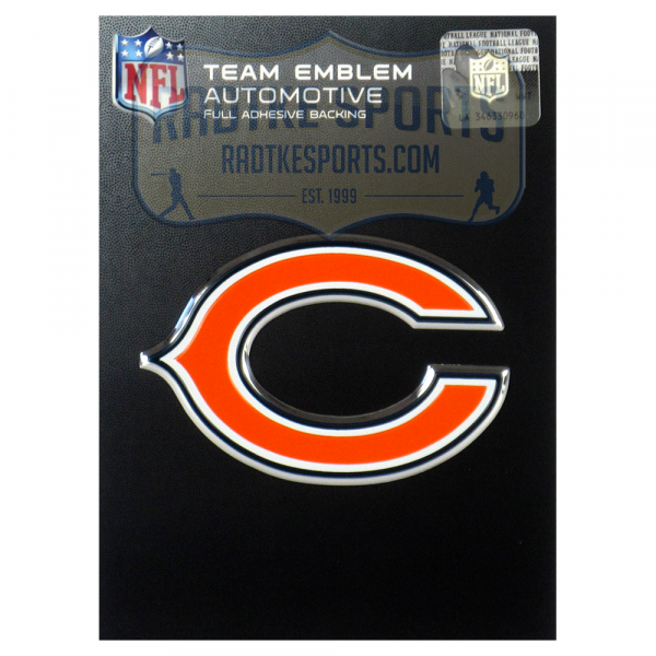 Officially Licensed Chicago Bears Logo 3x4 NFL Car Emblem with Adhesive Backing-0