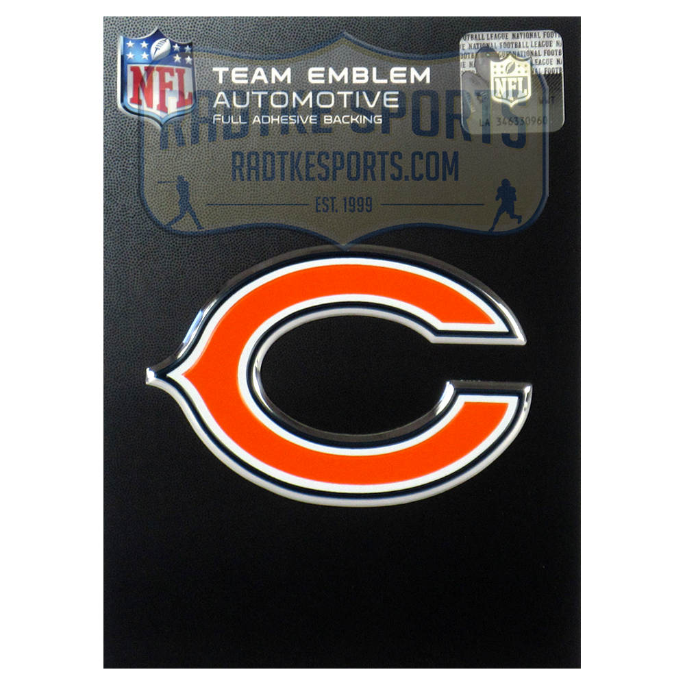 Officially Licensed Chicago Bears Logo 3x4 Nfl Car Emblem With Adhesive Backing