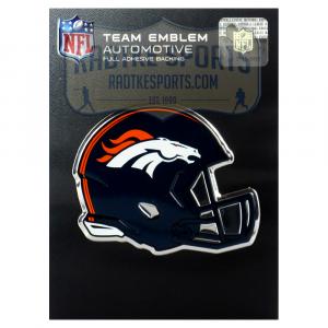 Officially Licensed Denver Broncos Helmet 3x4 NFL Car Emblem with Adhesive Backing-0