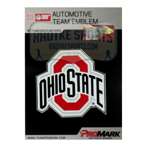 Officially Licensed Ohio State Buckeyes Logo 3x4 NCAA Car Emblem with Adhesive Backing-0