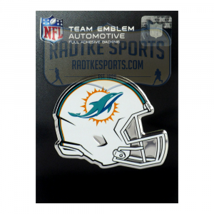 Officially Licensed Miami Dolphins Helmet 3x4 NFL Car Emblem with Adhesive Backing-0
