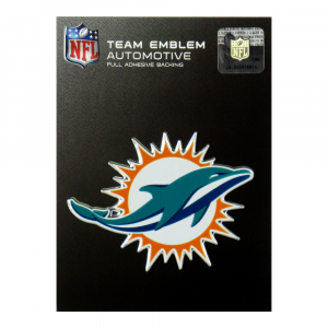 Officially Licensed Miami Dolphins Logo 3x4 NFL Car Emblem with Adhesive Backing-0