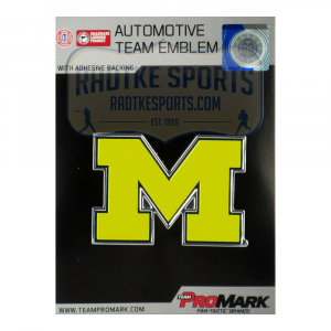 Officially Licensed Michigan Wolverines Logo 3x4 NCAA Car Emblem with Adhesive Backing-0