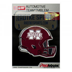 Officially Licensed Mississippi State Bulldogs Helmet 3x4 NCAA Car Emblem with Adhesive Backing-0